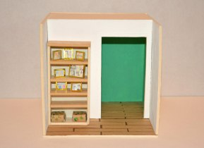 Bookcase, 15×15×15 cm, cardboard-paper-pencil-paint, 2015