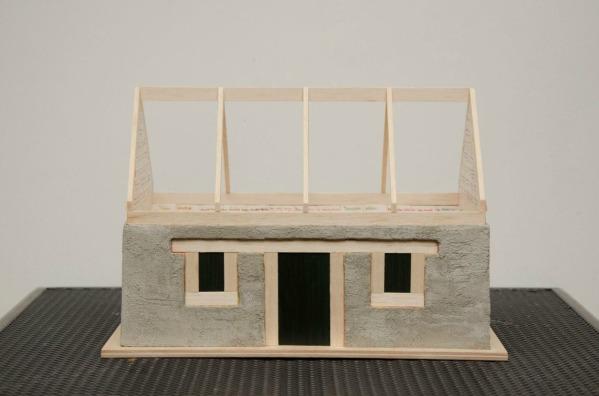 To Sylvia Plath, 27×35×41 cm, tile adhesive-brick powder-wood-paint, 2015